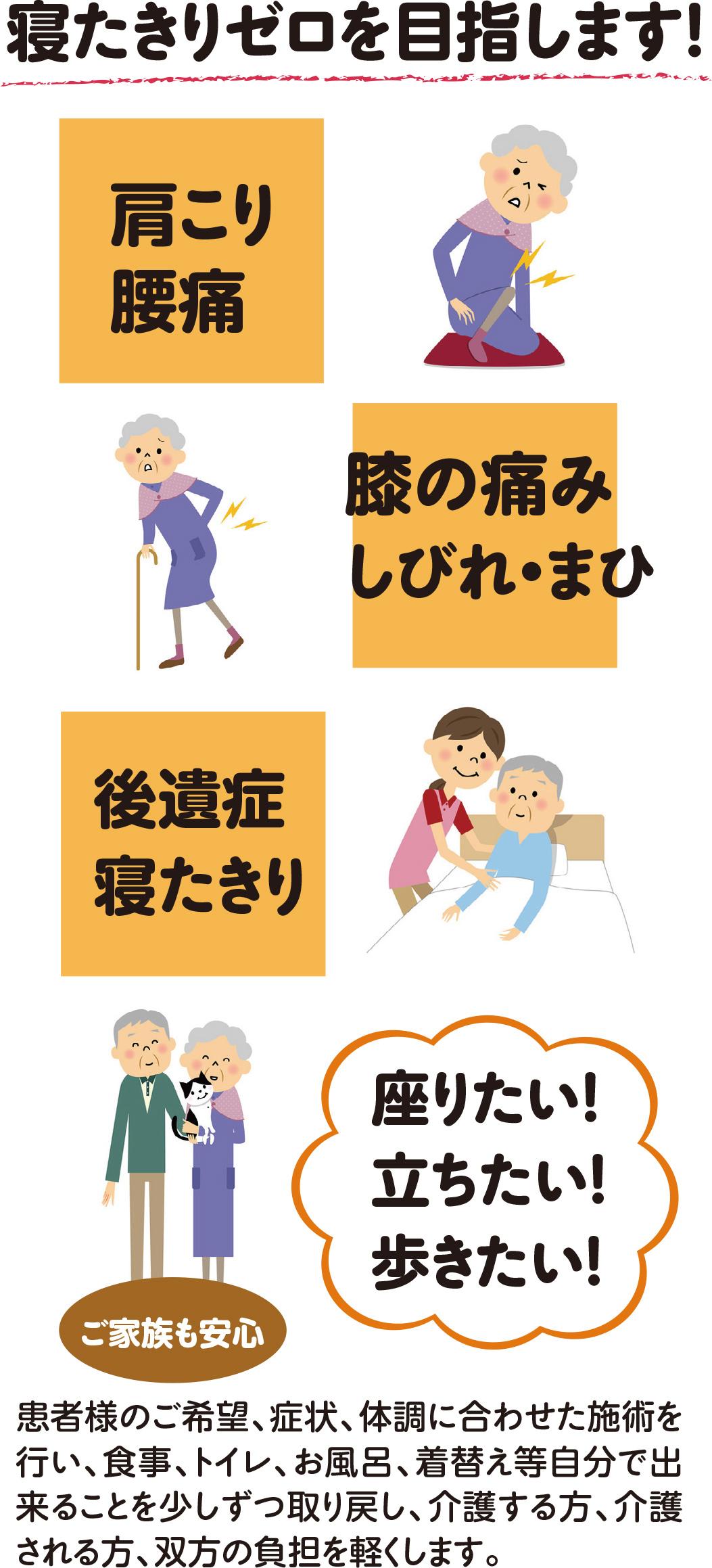 肩こりや腰痛、膝の痛みやしびれ・まひ、寝たきりの方は藤本整骨院の訪問鍼灸、訪問マッサージを受けてください